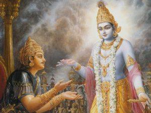 Krishna speaks to Arjuna