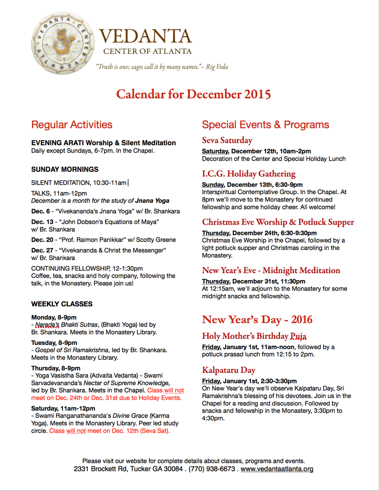 VCA Events & Activities Calendar Dec 2015 (image)